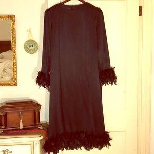 Vintage Black Feather Dress Sz 20